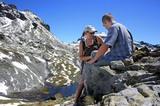 Bergsteiger beim Rasten