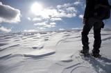 im Schnee mit Schneeschuhen
