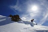 Skifahrer am Berggrad